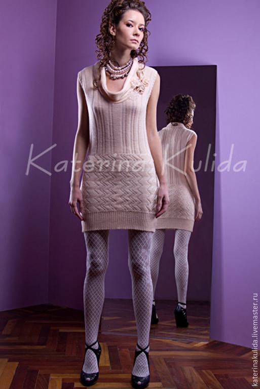 Платья ручной работы. Ярмарка Мастеров - ручная работа. Купить Кремовое платье. Handmade. Бежевый, кремовый цвет, короткий рукав