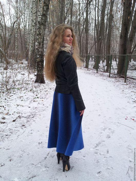 Юбки ручной работы. Ярмарка Мастеров - ручная работа. Купить Юбка вязаная. Handmade. Синий, длинная шерстяная юбка