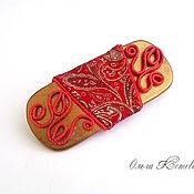 Русский стиль handmade. Livemaster - original item Hair clip machine hair from the skin Khokhloma red and gold. Handmade.
