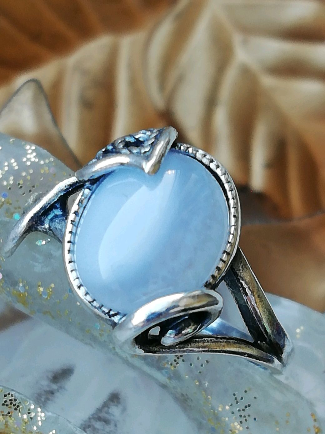 Ring with natural blue agate ' DEWDROP', Ring, Moscow,  Фото №1
