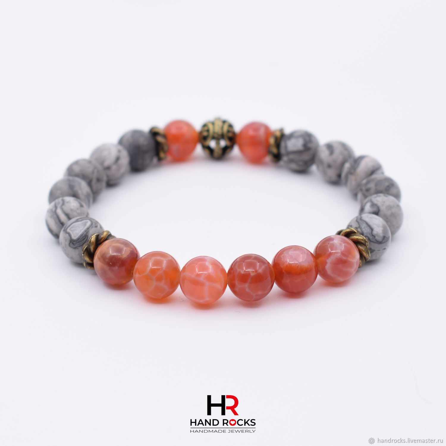 Bracelet made of natural stones ' Lava», Bead bracelet, Moscow,  Фото №1
