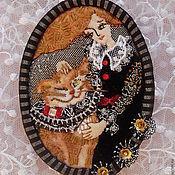 Украшения ручной работы. Ярмарка Мастеров - ручная работа Брошь Чеширский кот. Handmade.