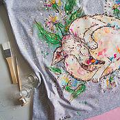 Одежда ручной работы. Ярмарка Мастеров - ручная работа Футболка для беременной Кисонька. Handmade.