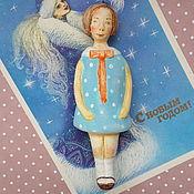 """Елочные игрушки ручной работы. Ярмарка Мастеров - ручная работа """"Девочка в голубом платье""""елочная игрушка,подарок из La Doll. Handmade."""