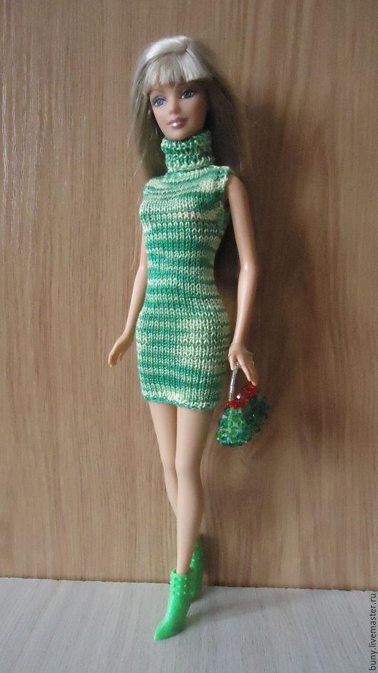 Одежда для кукол ручной работы. Ярмарка Мастеров - ручная работа. Купить Зеленое платье без рукавов. Handmade. Зеленый
