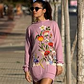 Одежда handmade. Livemaster - original item Knitted sweater Dress with an oversized,handmade embroidery