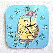Для дома и интерьера handmade. Livemaster - original item Wall clock cat under an umbrella, watches, handmade baby. Handmade.