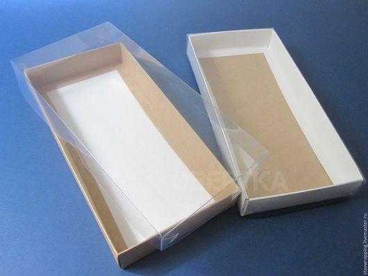 Упаковка ручной работы. Ярмарка Мастеров - ручная работа. Купить Коробка 21х10х2,5 см с прозрачной крышкой. Handmade. Коробка