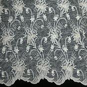 """Вышивка на сетке """"Хризантемы"""" (айвори,кремовый)"""