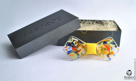 Галстуки, бабочки ручной работы. Ярмарка Мастеров - ручная работа. Купить Стеклянная галстук бабочка премиум класса желтая с декором Summer. Handmade.