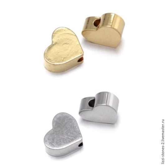 Бусина Сердце mini серебро и золото (Milano) Евгения (Lizzi-stones-2)