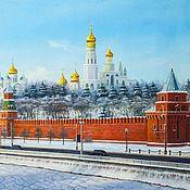 """Картина маслом """"Зимний вид на Кремль"""""""