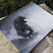 """Картины и панно ручной работы. Ярмарка Мастеров - ручная работа картина маслом """"ежик в тумане"""". Handmade."""