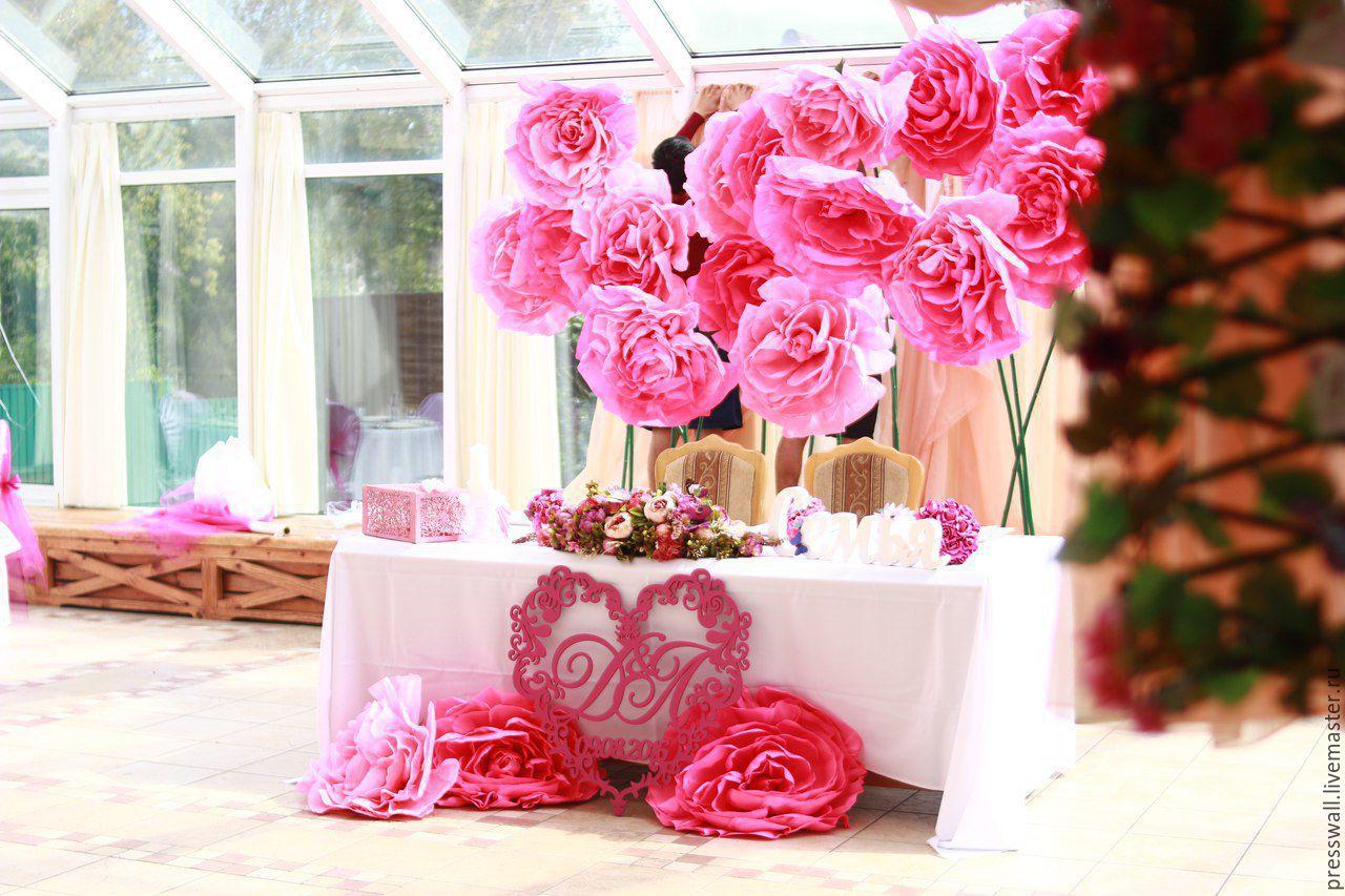 Оформление на свадьбу цветами из бумаги фото