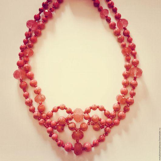 """Колье, бусы ручной работы. Ярмарка Мастеров - ручная работа. Купить Колье """"Heart"""". Handmade. Колье, хрусталь, коралловый, камни"""
