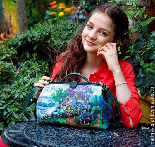 Женские сумки ручной работы. Ярмарка Мастеров - ручная работа. Купить Саквояж. Handmade. Тёмно-зелёный, лесная сказка, домик