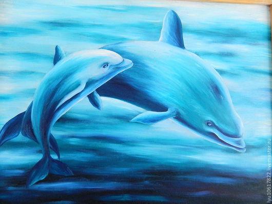 Работа Новиковой Ирины Мама дельфин со своим дельфинёнком-это трогательно.... Эта картина может послужить прекрасным украшением детской комнаты.