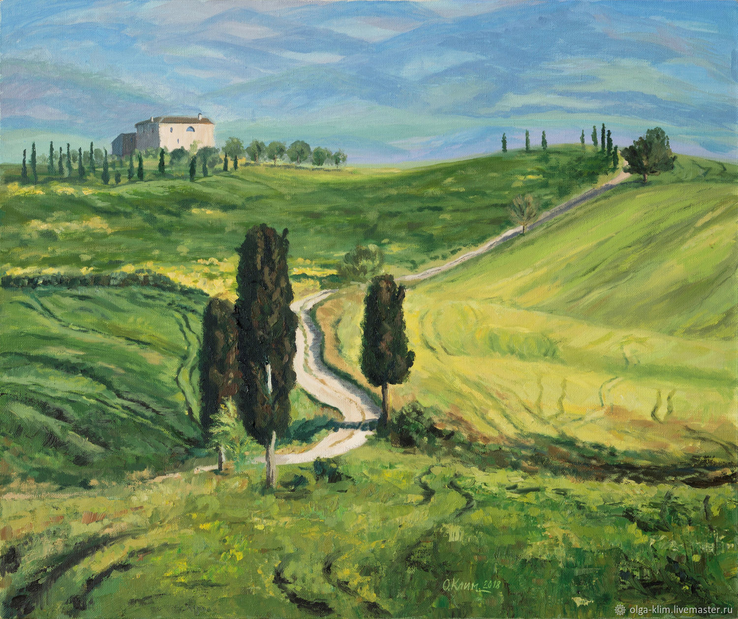 Oil painting Tuscany Italy vineyards road into the distance, Pictures, Ekaterinburg,  Фото №1