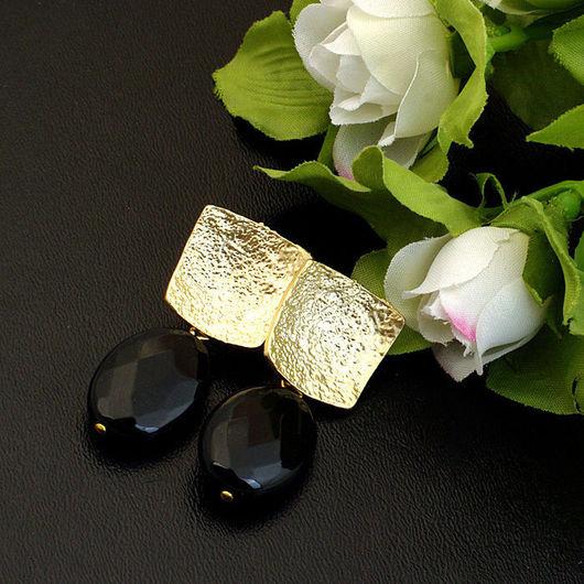 Строгие серьги с позолотой из черного агата подарок торжество вечерние серьги жене маме подруге дочери серебро позолота