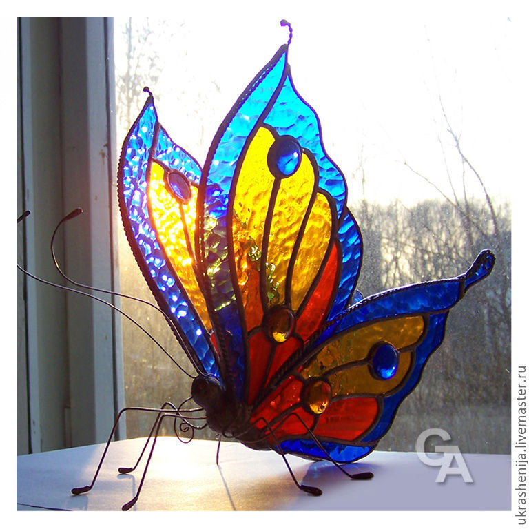Interior Items handmade. Livemaster - handmade. Buy Decoration for interior 'Butterfly'.Stained glass, home, glass, colored glass