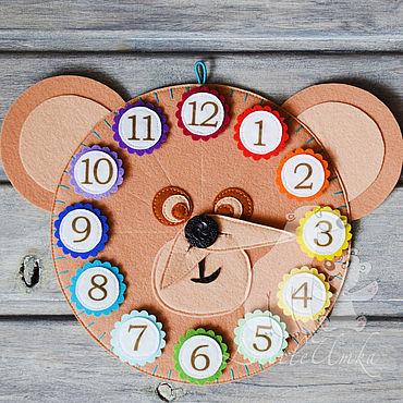 Куклы и игрушки ручной работы. Ярмарка Мастеров - ручная работа Развивающие часы из фетра. Handmade.