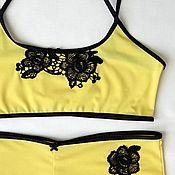 Одежда ручной работы. Ярмарка Мастеров - ручная работа Комплект белья ярко-желтый. Handmade.