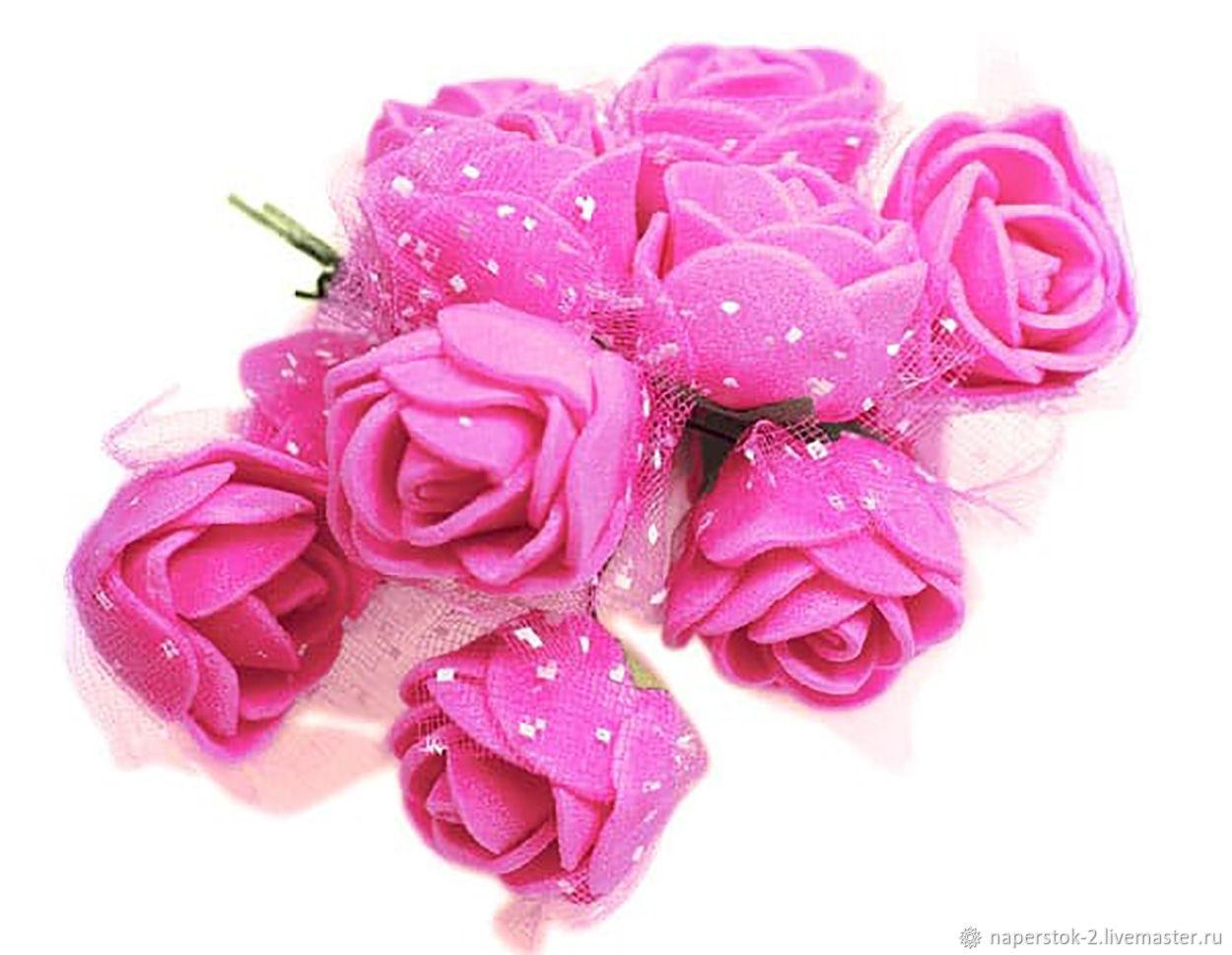 Роза с вуалью темно розовая, Цветы искусственные, Москва,  Фото №1