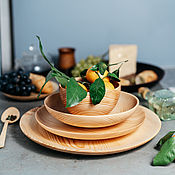 Посуда handmade. Livemaster - original item Set of wooden plates for serving of Siberian Cedar TN46. Handmade.