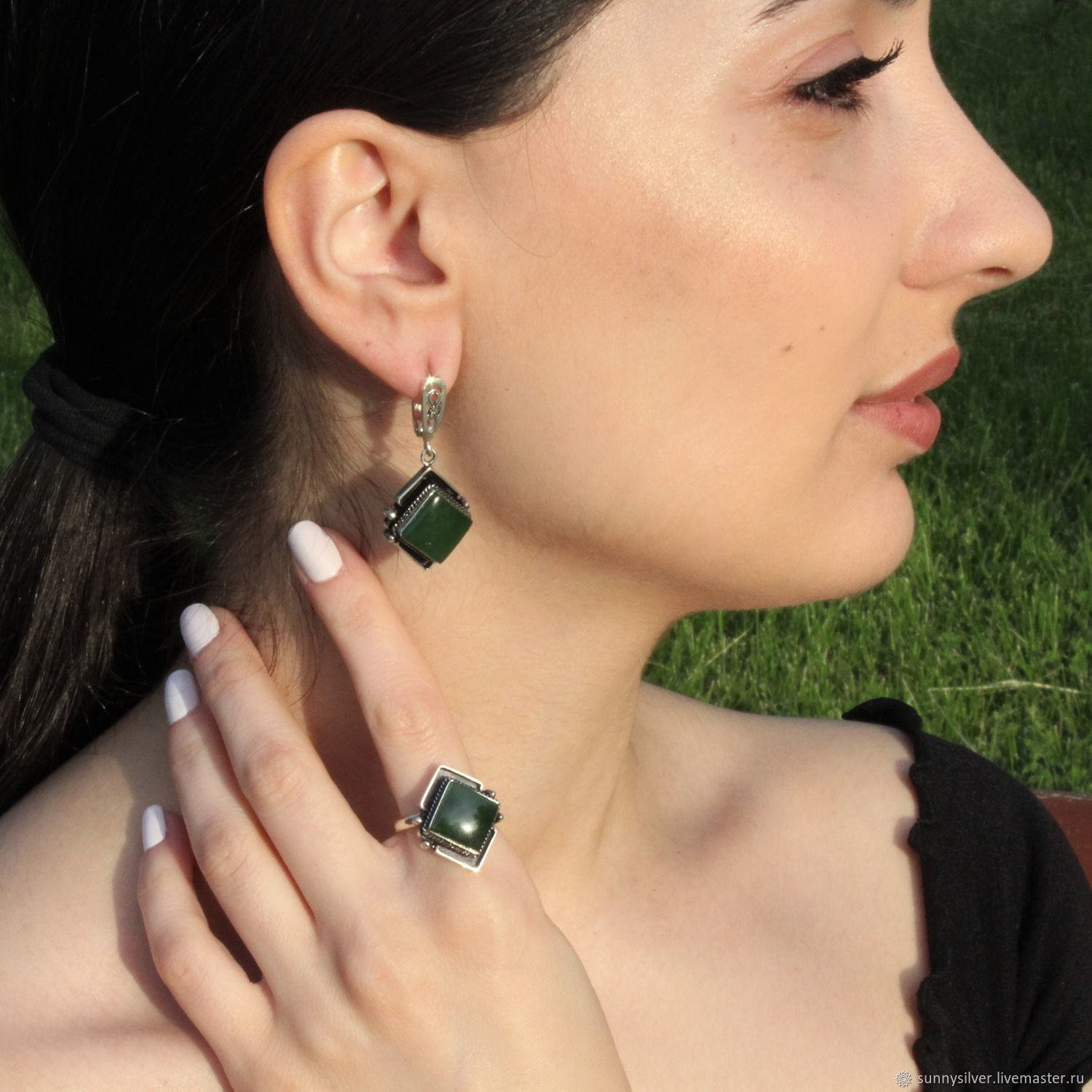 Madina earrings and ring with jades made of 925 sterling silver, Jewelry Sets, Yerevan,  Фото №1