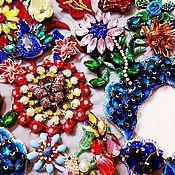 Материалы для творчества handmade. Livemaster - original item Designer embroidery with rhinestones on lace. Handmade.