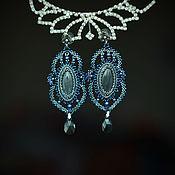 Украшения ручной работы. Ярмарка Мастеров - ручная работа Синие плетеные серьги с лабрадоритами. Handmade.
