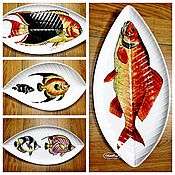 Посуда handmade. Livemaster - original item The painted porcelain .The collection of plates on the wall