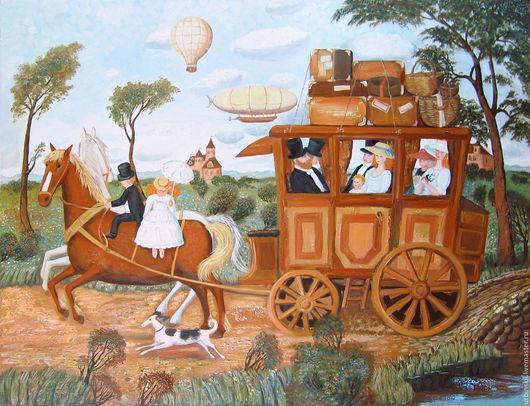 Пейзаж ручной работы. Ярмарка Мастеров - ручная работа. Купить Путешествие. Handmade. Коричневый, голубой, путешествие, лошадь, колесо, облако