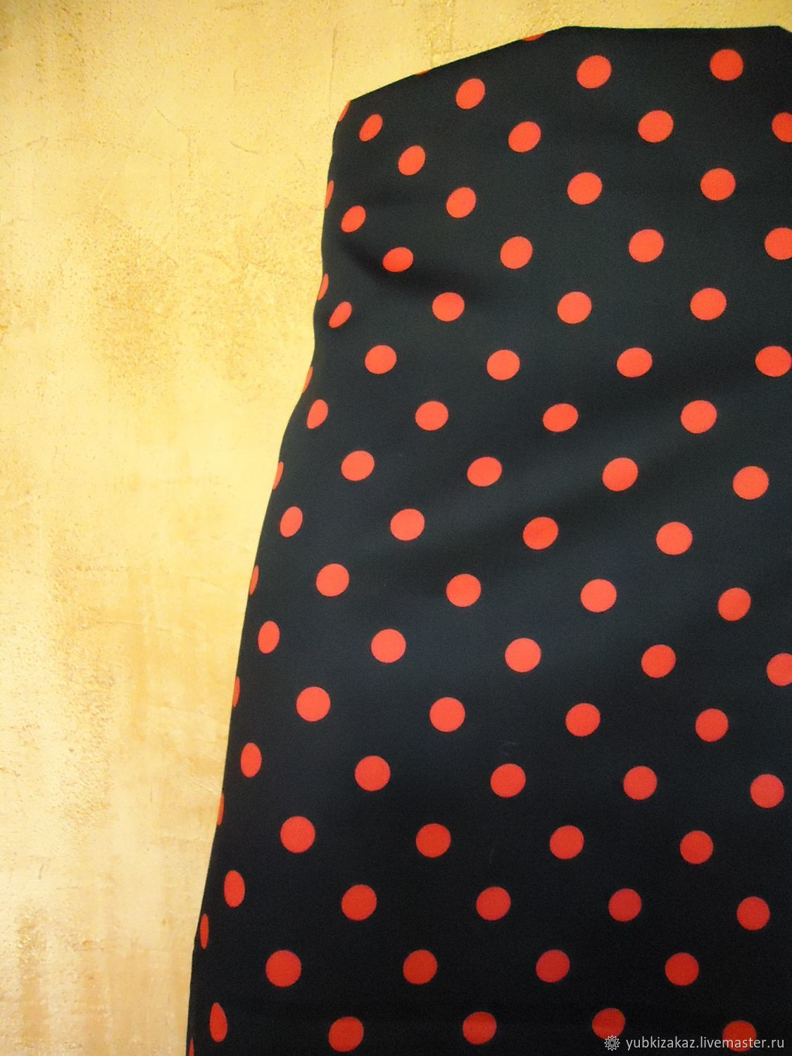 Polka dot skirt red on black made of cotton with elastane, Skirts, Novosibirsk,  Фото №1