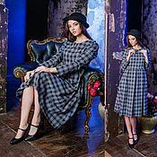 Одежда ручной работы. Ярмарка Мастеров - ручная работа Платье в клетку миди с круглым воротничком синее серое вискоза шерсть. Handmade.