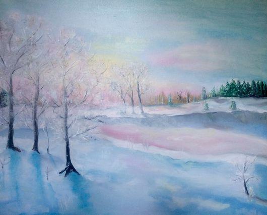 """Пейзаж ручной работы. Ярмарка Мастеров - ручная работа. Купить """"Рассвет в лесу"""". Handmade. Белый, зима, рассвет, лес"""