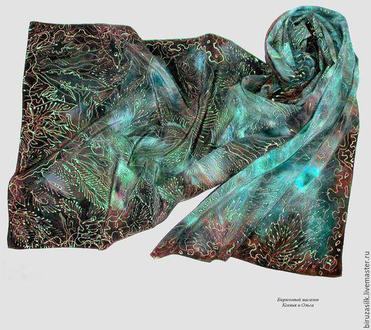 Шелковый шарф с авторской ручной росписью оригинальный качественный батик в подарок