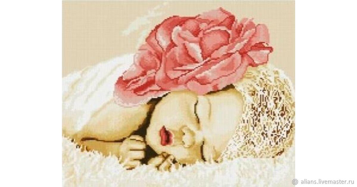 Вышивка ручной работы. Ярмарка Мастеров - ручная работа. Купить Спящий ребёнок алмазная мозаика. Handmade. Цветы, детская