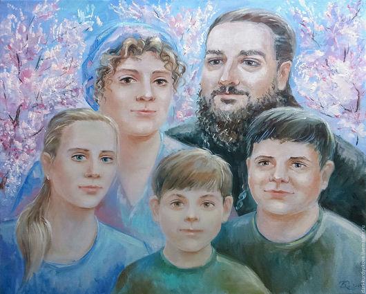 """Люди, ручной работы. Ярмарка Мастеров - ручная работа. Купить Портрет маслом """"Семья"""". Handmade. Розовый, портрет на заказ"""