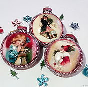 Подарки к праздникам handmade. Livemaster - original item Christmas collectible balls in decoupage technique. Handmade.