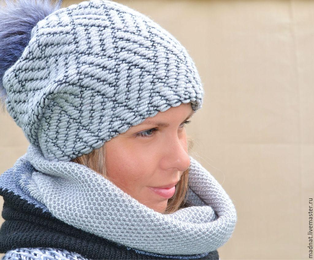 'Vivien ' double winter hat (color St. gray black), Caps, Moscow,  Фото №1