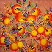 """Аксессуары ручной работы. Ярмарка Мастеров - ручная работа реплика батик платок """"Апельсины и птички"""" шелковый платок батик. Handmade."""