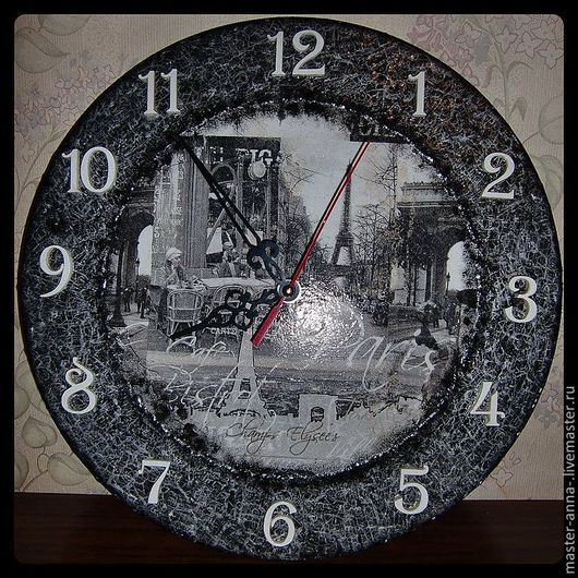 "Часы для дома ручной работы. Ярмарка Мастеров - ручная работа. Купить Часы ""Париж"". Handmade. Серый, часы настенные"