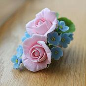 Украшения ручной работы. Ярмарка Мастеров - ручная работа Зажим с незабудками и розами. Handmade.