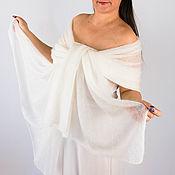 Аксессуары handmade. Livemaster - original item The stole is knitted from kidmocher White. Handmade.