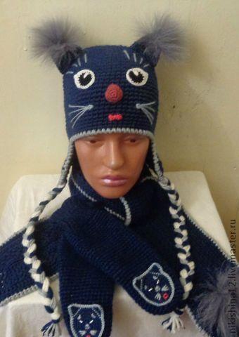 """Шапки ручной работы. Ярмарка Мастеров - ручная работа. Купить набор """"Кошка"""". Handmade. Тёмно-синий, головные уборы"""