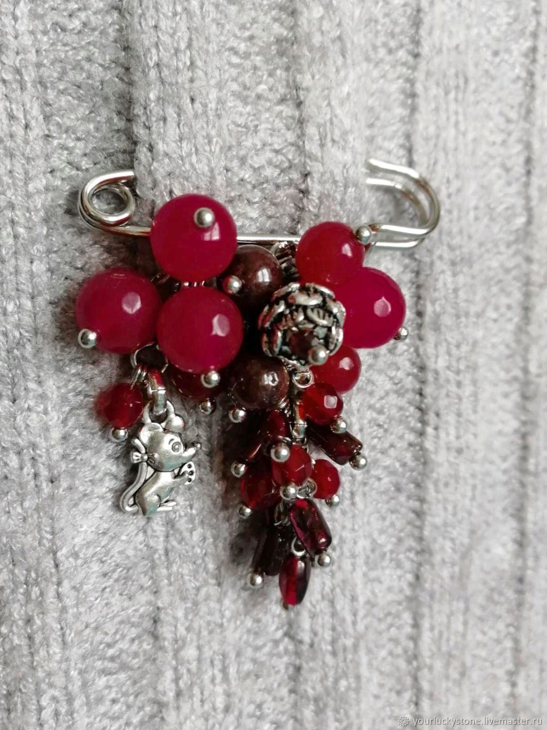 Brooch 'mulled Wine' from natural pomegranate and agate, Brooches, Tolyatti,  Фото №1