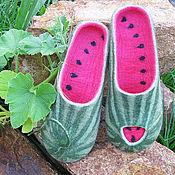 """Обувь ручной работы. Ярмарка Мастеров - ручная работа """"Кто съел кусочек?!"""", арбузные войлочные тапочки. Handmade."""