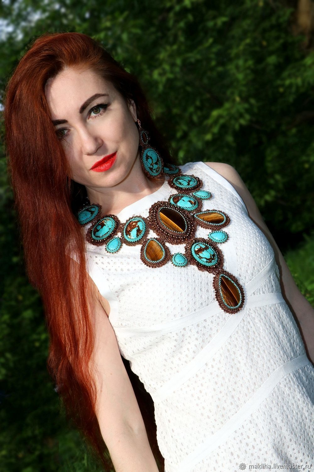 Large necklace and earrings with stones and beads, Jewelry Sets, Moscow,  Фото №1
