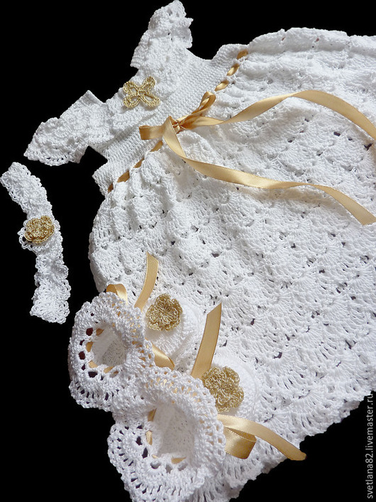 """Крестильные принадлежности ручной работы. Ярмарка Мастеров - ручная работа. Купить Крестильный комплект """"Злата"""". Handmade. Белый, платье на крестины"""